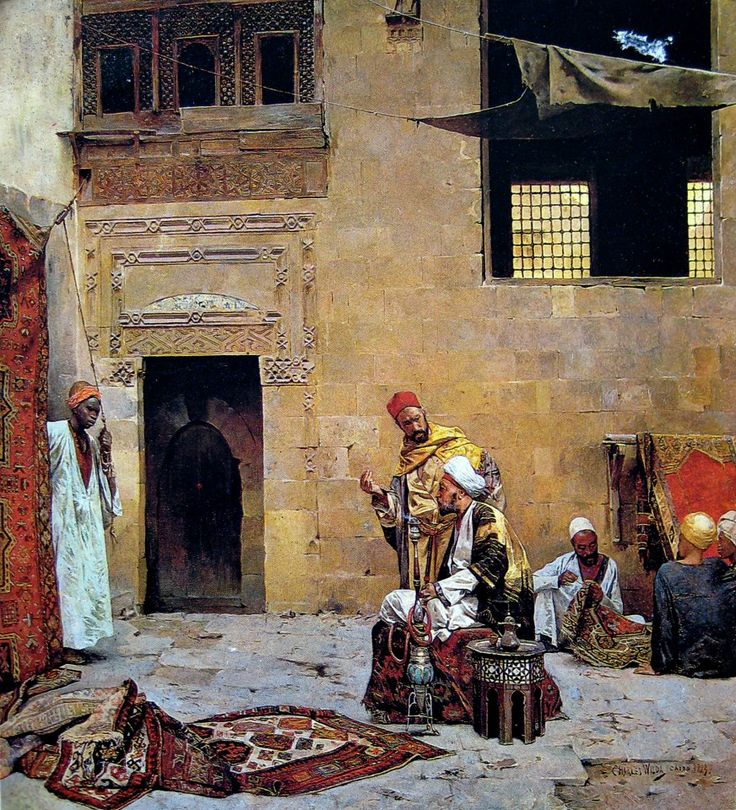 Rug Merchant in Cairo ,1889  by Charles Wilda (Austrian ,1854-1907)  Oil on canvas , 53.7x45.1 cm