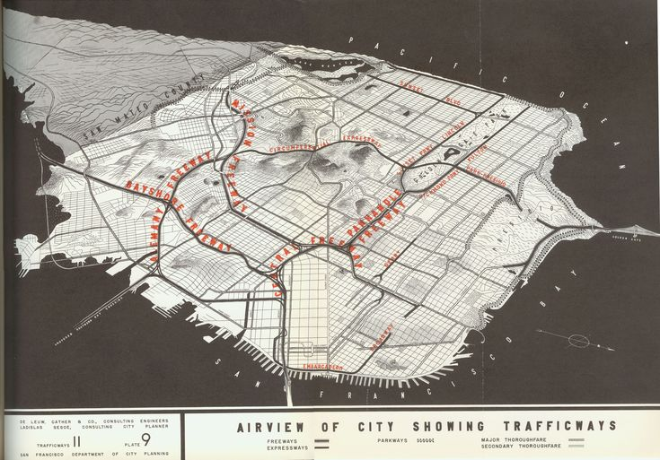San Francisco freeway proposal, including Mission Freeway and second Bay Bridge at Army Street. Click through for really high resolution.: Francisco Trafficways, Francisco Maps, Historical Maps, File 1948 San, San Francisco, Trafficways 1948, Diagrammatic Maps, 1948 Plan, Trafficways Plan Jpg