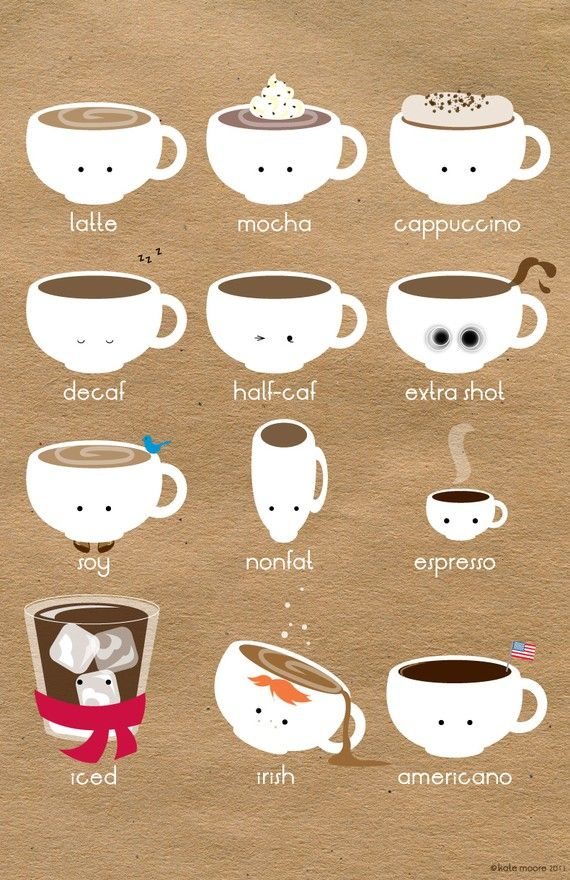 Coffee with character. Illustrated by Kate Moore. kate_moore illustrations coffee cups cute