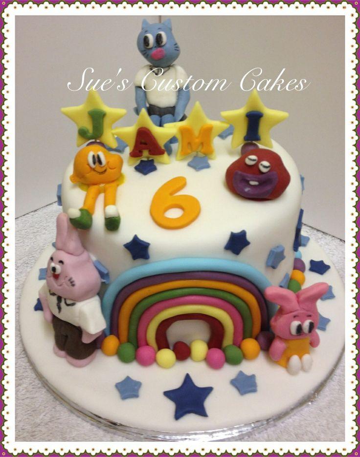 The amazing world of gumball cake Cartoon Network, characters, rainbow Gumpaste, fondant