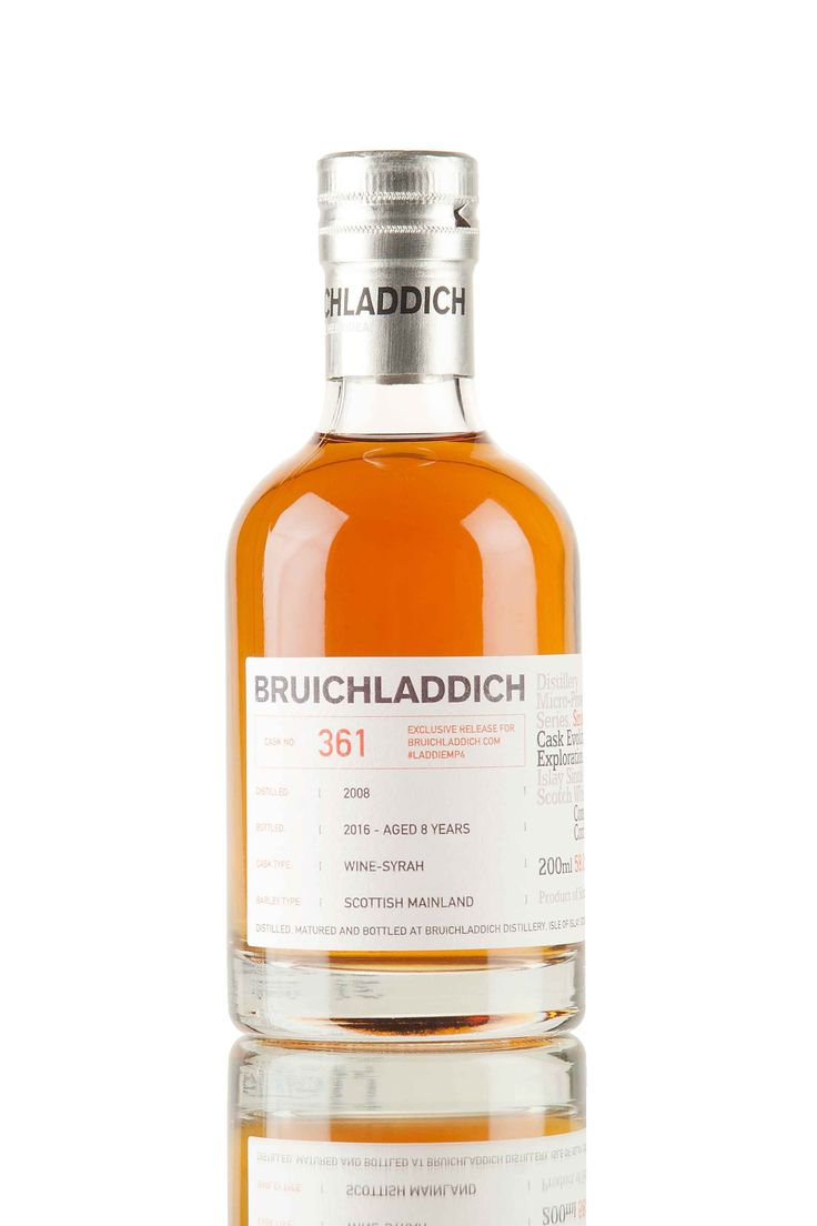 An 8 year old Bruichladdich, distilled in 2008 and fully matured in French red wine casks, that previously held Syrah wine. Cask #361, originally released for the #LaddieMP4 Micro-Provenance digital tasting, a 200ml bottling, filled at cask strength, 58% vol.