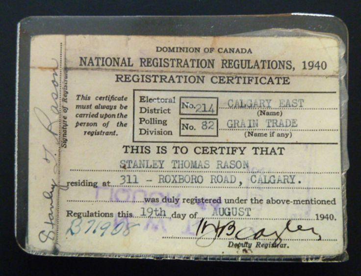 Dominion of Canada 1940 National Registration Certificate Calgary Grain Trade | eBay