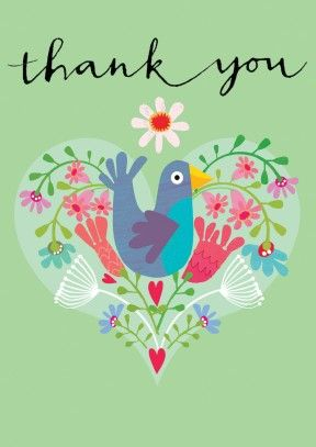 Show your gratitude with this lovely thank you card. It has everything a thank you card needs a Heart, a Flower and a Bird. Perfect for him or her.