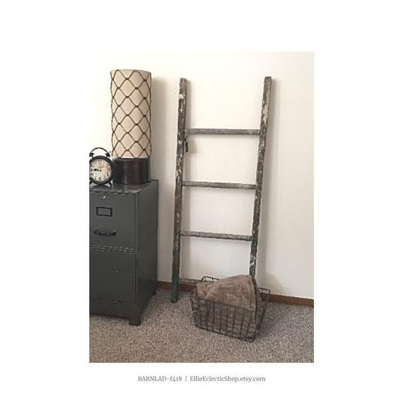 Vintage Wooden Farm Ladder Rustic Farmhouse Decorative Wood Etsy Wood Decor Wood Ladder Rustic Ladder