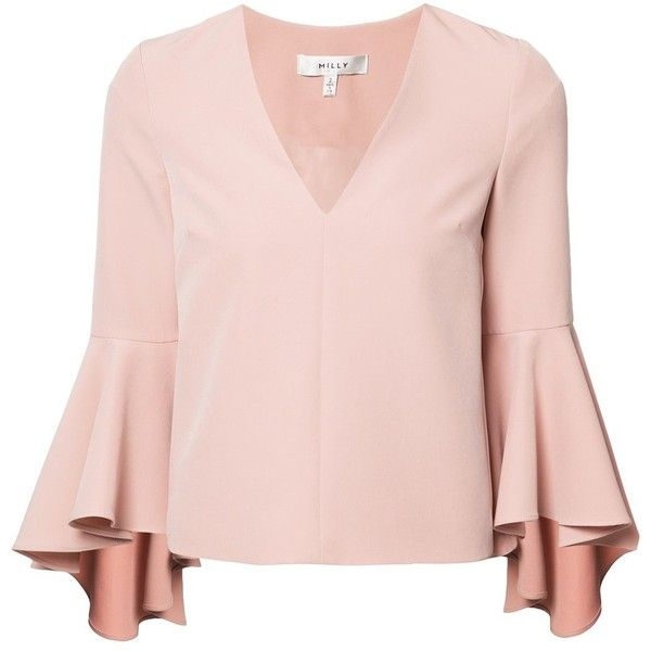 Milly bell sleeve blouse (4.605.060 IDR) ❤ liked on Polyvore featuring tops, blouses, pink top, milly top, pink blouse, flared sleeve top and bell sleeve blouse