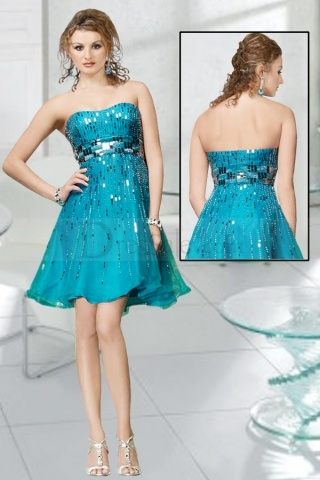 Ritzy Strapless Party Dress with Vertical Beading