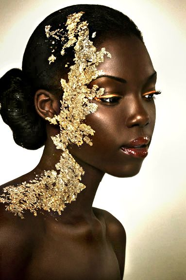 Ebony girls gold leaf and gold on pinterest for Wonderful black