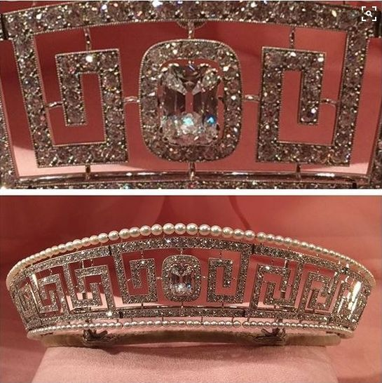 The fabulous diamond and seed pearl meander tiara made in 1909 by Cartier for Marguerite, Lady Allan