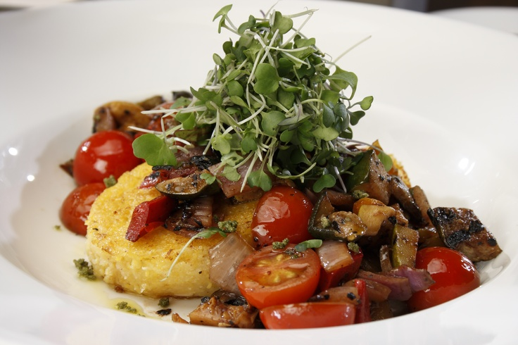 Grilled Local Vegetable Ragout- balsamic herbs, roasted garlic polenta ...