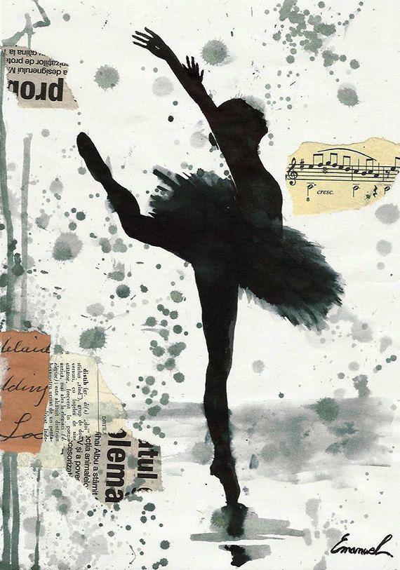 Print Art poster best gift home decor Ballet Dancer Ink Drawing present Painting…