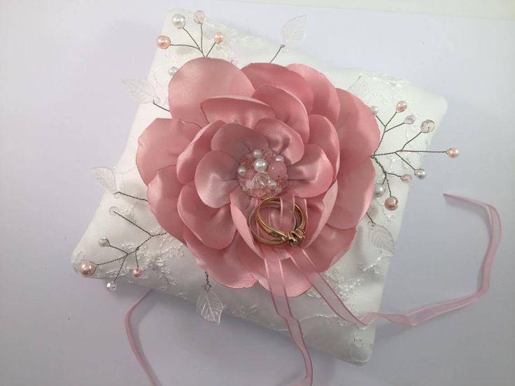 Mariage porte-alliance coussin de mariage avec Fleurs de Soie Rose : Accessoires de maison par fleurs-de-provence