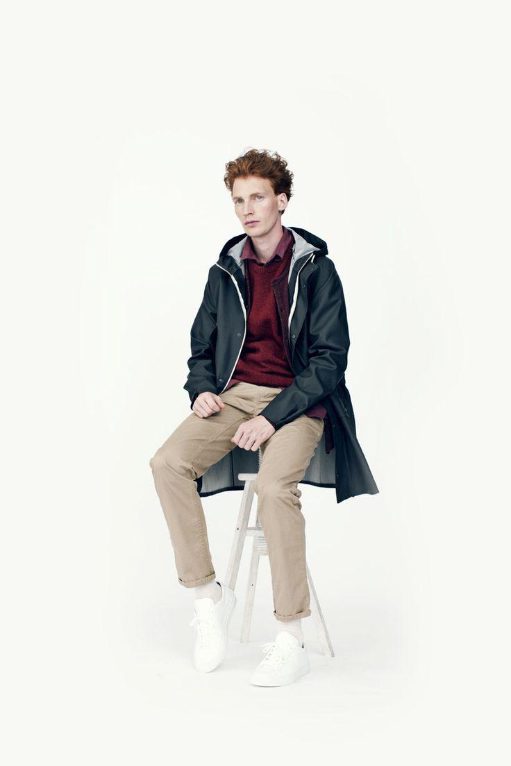 Daniel wears Elka 4 Pocket Jacket, Bjarni Knit Cardigan, Karl Moulinex Knit, Roar Flannel Shirt, Arnkell Light Chino.  Footwear from Common Projects.