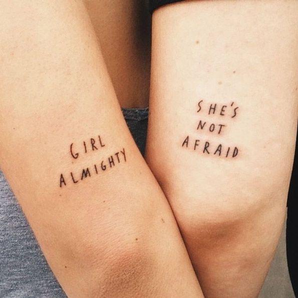 Matching feminist tattoos