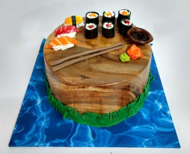 Fine 32 Best Photo Of Sushi Birthday Cake Sushi Cake Sushi Cake Personalised Birthday Cards Arneslily Jamesorg