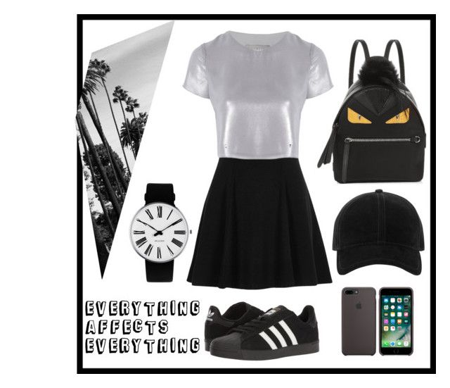 """blaaaaaaaaaaaack"" by angelinekrisna on Polyvore featuring adidas, Fendi, Rosendahl, rag & bone, River Island and Related"