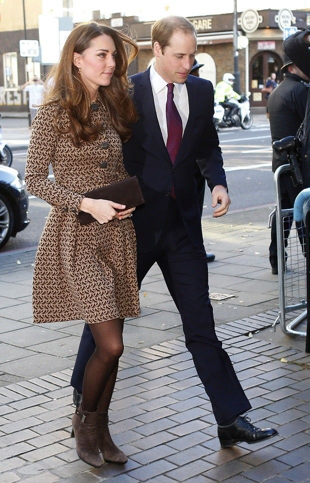Will and Kate visit Only Connect. Kate in dress by Orla Kiely. - 11/19/2013