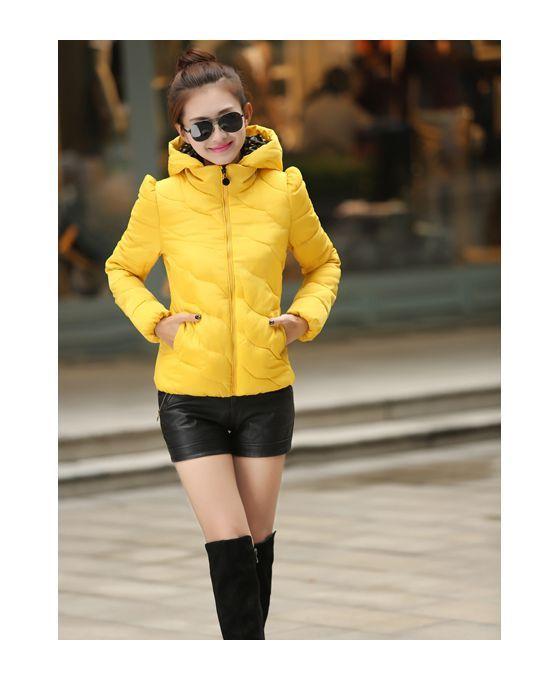 Yellow Eiderdown cotton Polyester Turndown collar Fluffy Coat