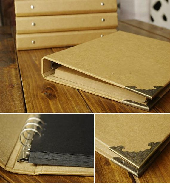 En blanco Kraft tapa dura DIY álbum de foto   6 argollas   40 páginas   Libro de…