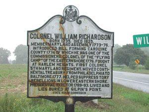 Colonel William Richardson Harmony (vicinity), Caroline County MD 16 at Wilkins Bridge Road, northwest corner