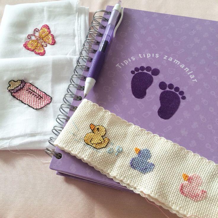 Cross stitch baby towel kanaviçe bebek havlusu