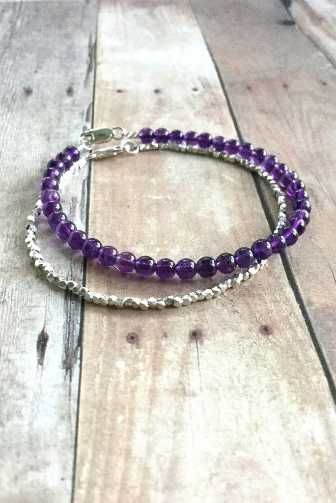Genuine Amethyst Bracelet, Sterling Silver Clasp, Purple Natural Stone Jewelry