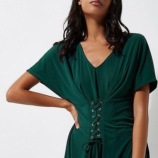 Green corset front V neck top - blouses - tops - women