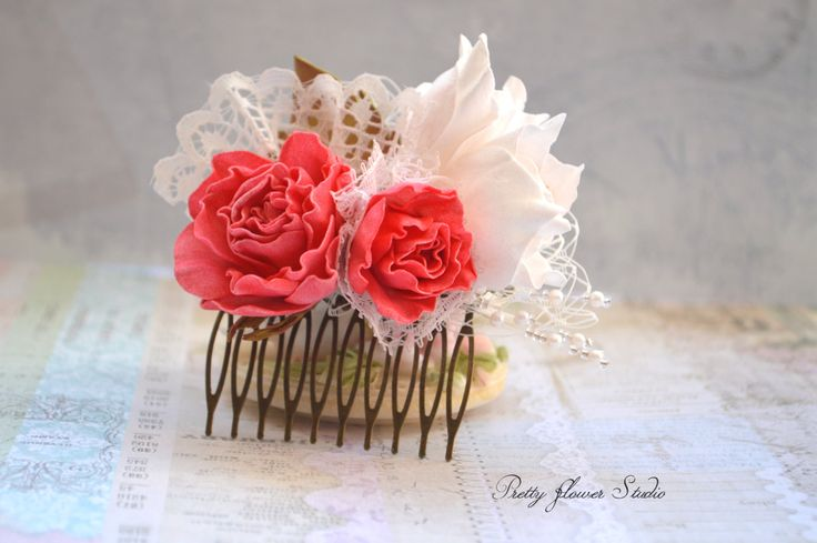Hair comb, French comb, Flower headpiece,  Rose Headpiece, Bridal Hair Flower Comb, Flower Hair Comb, Hair Accessory, Hair Accessories - pinned by pin4etsy.com