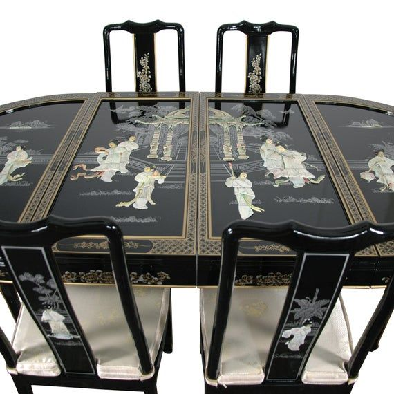 Lacquer Dining Room Set Black Mother Of Pearl Etsy In 2021 Dining Room Set Oriental Furniture Dining Room Furniture