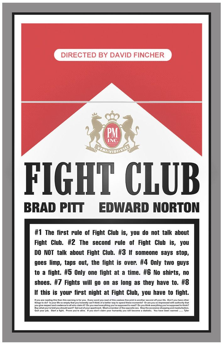 Another picture I think is a good representation of Fight Club is this one. The movie constantly focuses on cigarettes and cigarette burns but not only that, the carton of cigarettes has the rules of Fight Club on it.