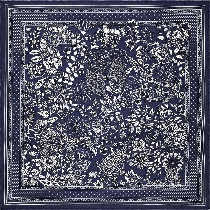 Bandana 55 x 55 cm Hermès | Fleurs et Papillons de Tissus