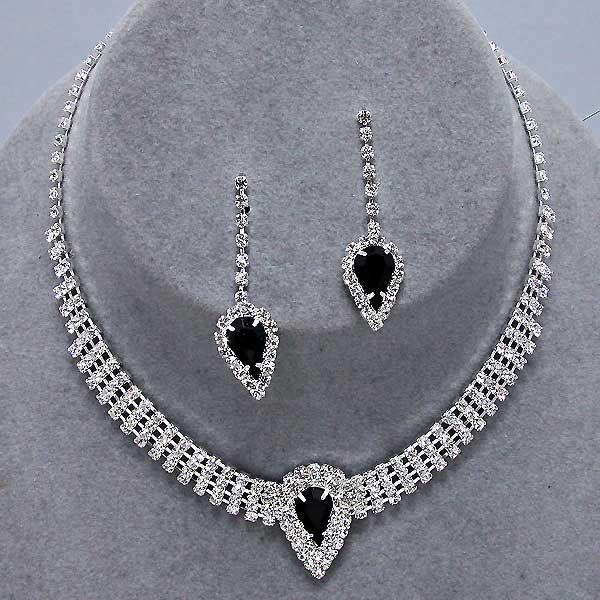 Prom party pink diamante necklace set wvJF7Ode