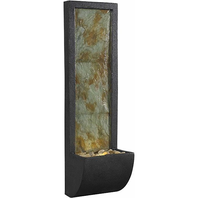 Kenroy Home Walla Indoor Wall Fountain, Natural Slate With Oil Rubbed  Bronze Finish