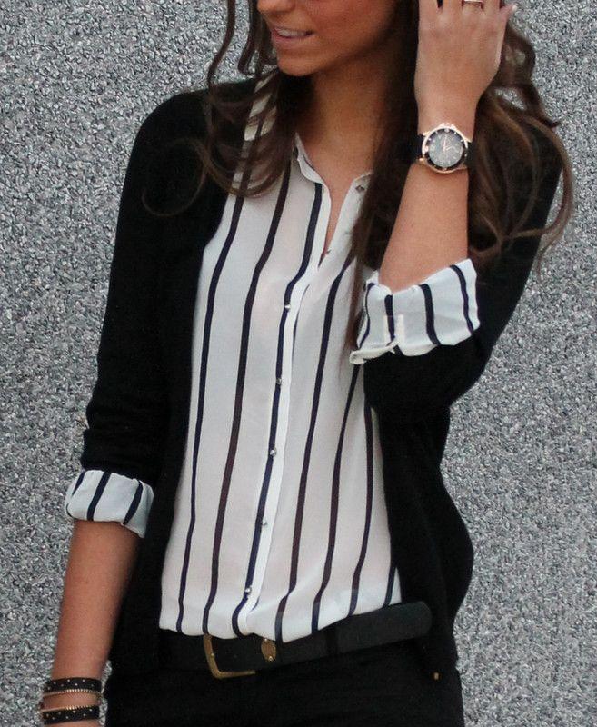 Black striped blouse and black cardigan.