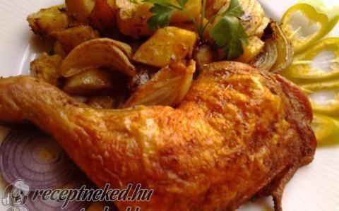 Ropogós csirkecomb hagymás krumpli ágyon recept fotóval