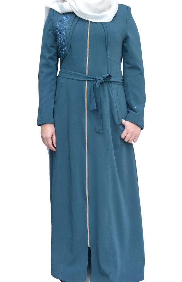 TEAL Jordan Jilbab Belted Long Coat Zip Front