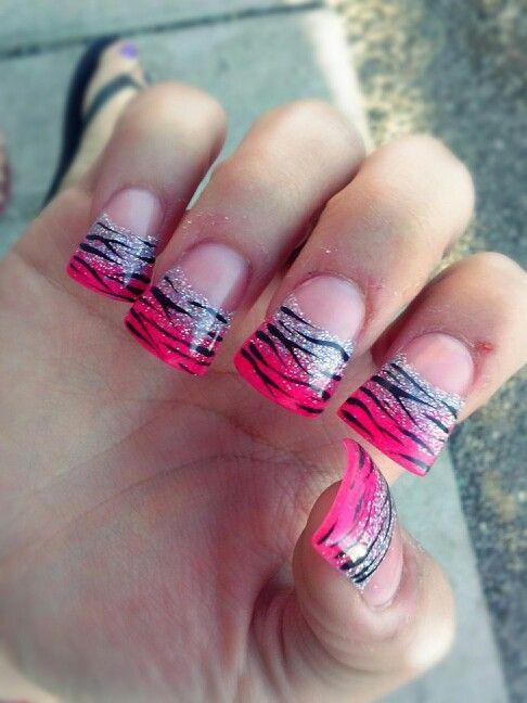 My cute pink, glittery, zebra print duck tip nails! I love them!