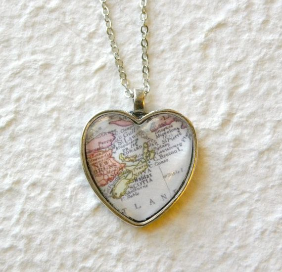 Heart Shaped Map Necklace - Nova Scotia, Canada featuring Halifax, Cape Breton, Prince Edward Island and more