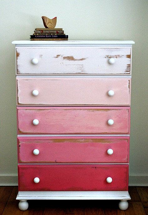 Delightful Stunning Ombre Hand Painted Pink Pine Chest Of Drawers   SOLD