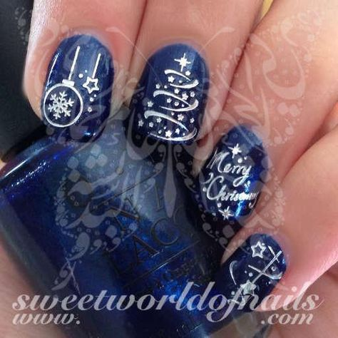 Christmas Nail Art Silver Merry Christmas Tree Stars Lights Ornaments Nail Water Decals