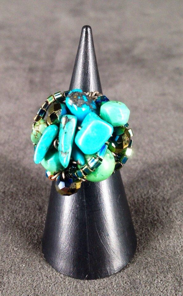 Silver and turquoise ring by TrinesTreasures on Etsy