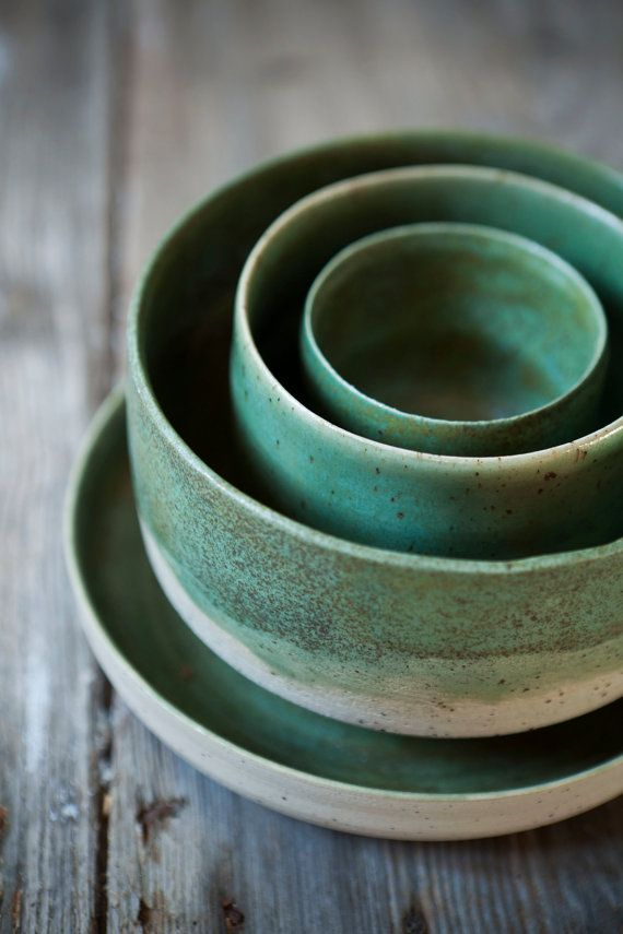 La main pièces Set de 4 grès / Green Turmaline par TheFreakyRaku