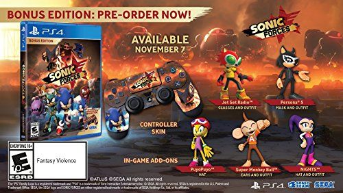 Sonic Forces - PlayStation 4 Bonus Edition  Three types of gameplay: Fast paced action as Modern Sonic, thrilling platforming as Classic Sonic, and utilize powerful gadgets as your own Customer Hero Character!  Fight against a brand new mysterious and powerful enemy, Infinite!  Featuring an all-star cast of well-known Sonic franchise heroes and villains!  Bonus Edition includes: game, controller skin, and costume DLC code