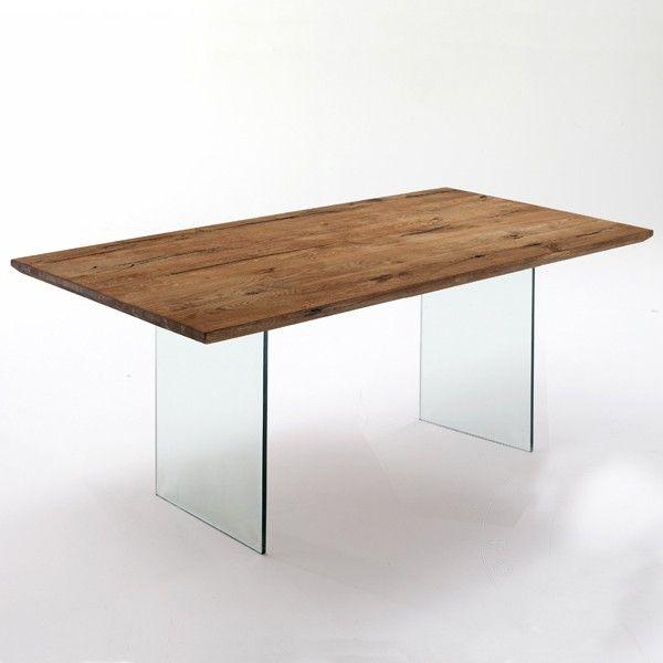Tavolo fisso Float legno massello e vetro