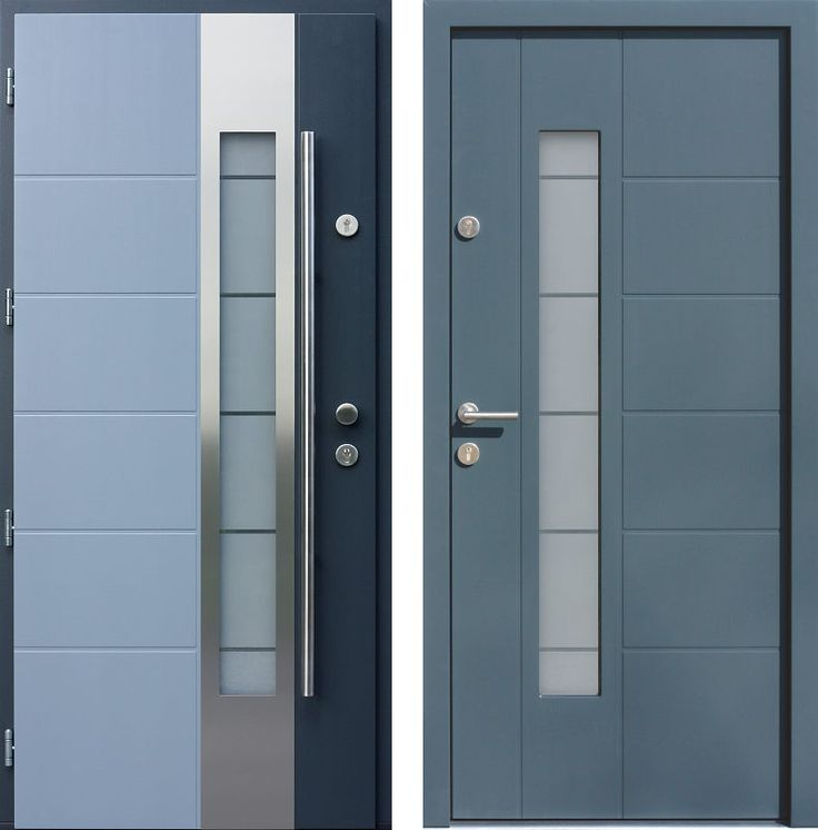 Drzwi wejściowe z aplikacjamii ze stali nierdzewnej inox wzór 471,2-471,12+ds11 antracyt + błękitne