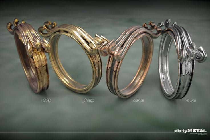 custom Material test, oxidised rings
