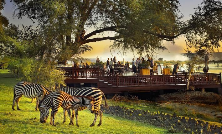 The Royal Livingstone is just a short walk from the entrance to the Victoria Falls in Zambia.