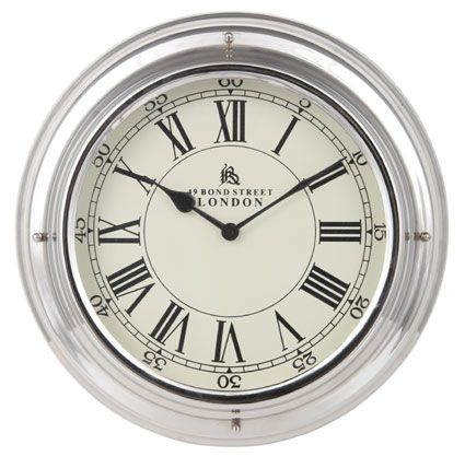 CONTEMPORARY 'BOND STREET' METAL WALL ART CLOCK