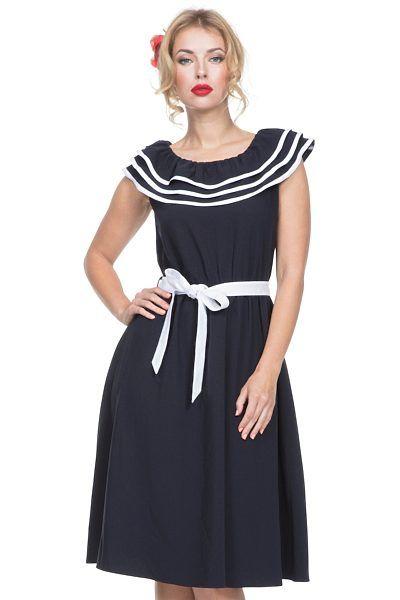 cea5165746a Modré námořnické šaty Voodoo Vixen Hope