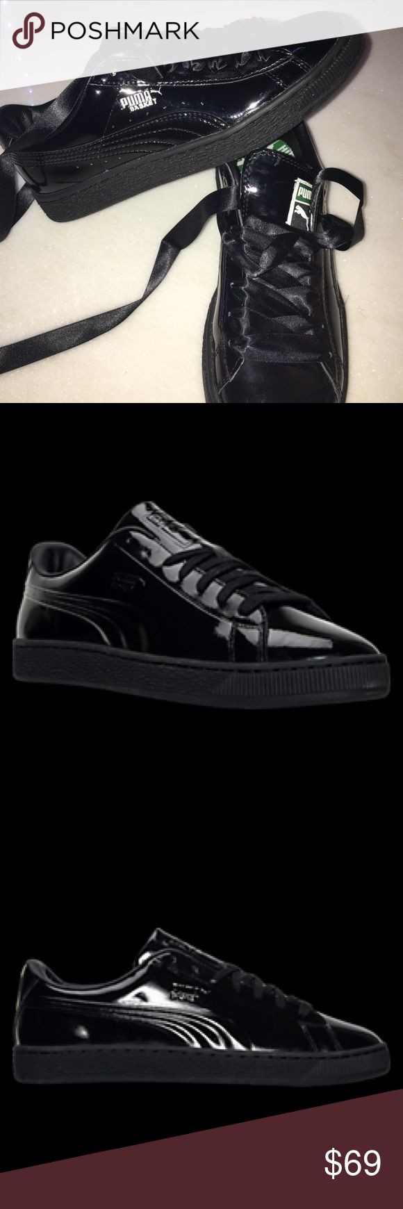 Puma Patent Black Rihanna Sneakers New!! Never worn!! Does not come with the exact lace you see in this picture, but it comes with normal lace. The size is 6.5 but fits a 7 perfectly! I will take reasonable offers😊 lmk if you have any questions💖 Puma Shoes Sneakers