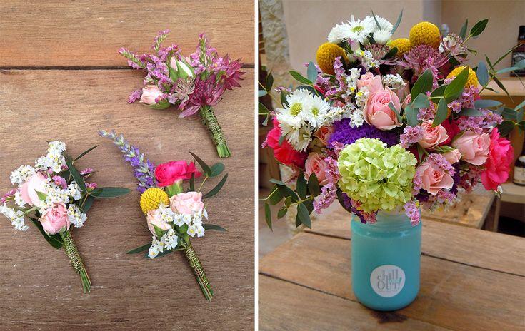 Color bride bouquet wild style Color buttonhole- boutonniere